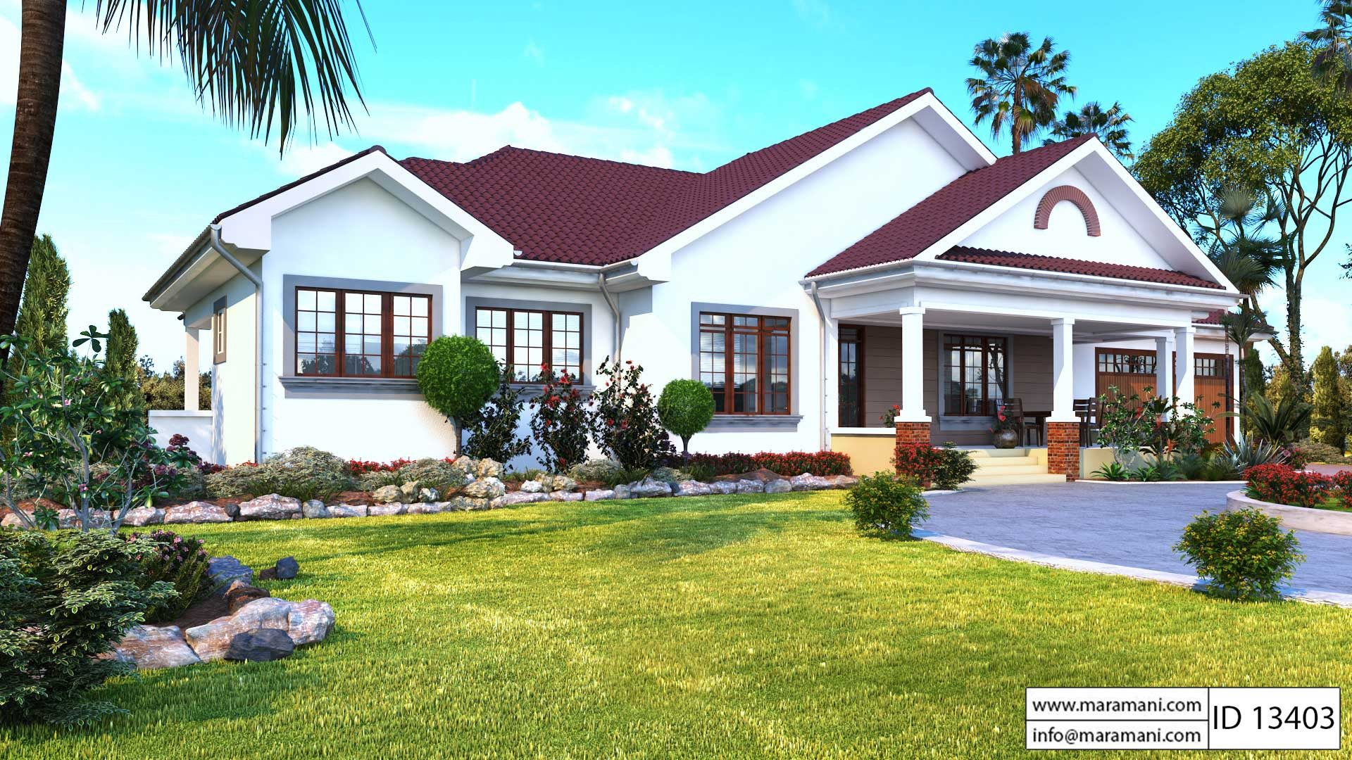 3 bedroom bungalow with garage id 13403 house plans by House designers house plans