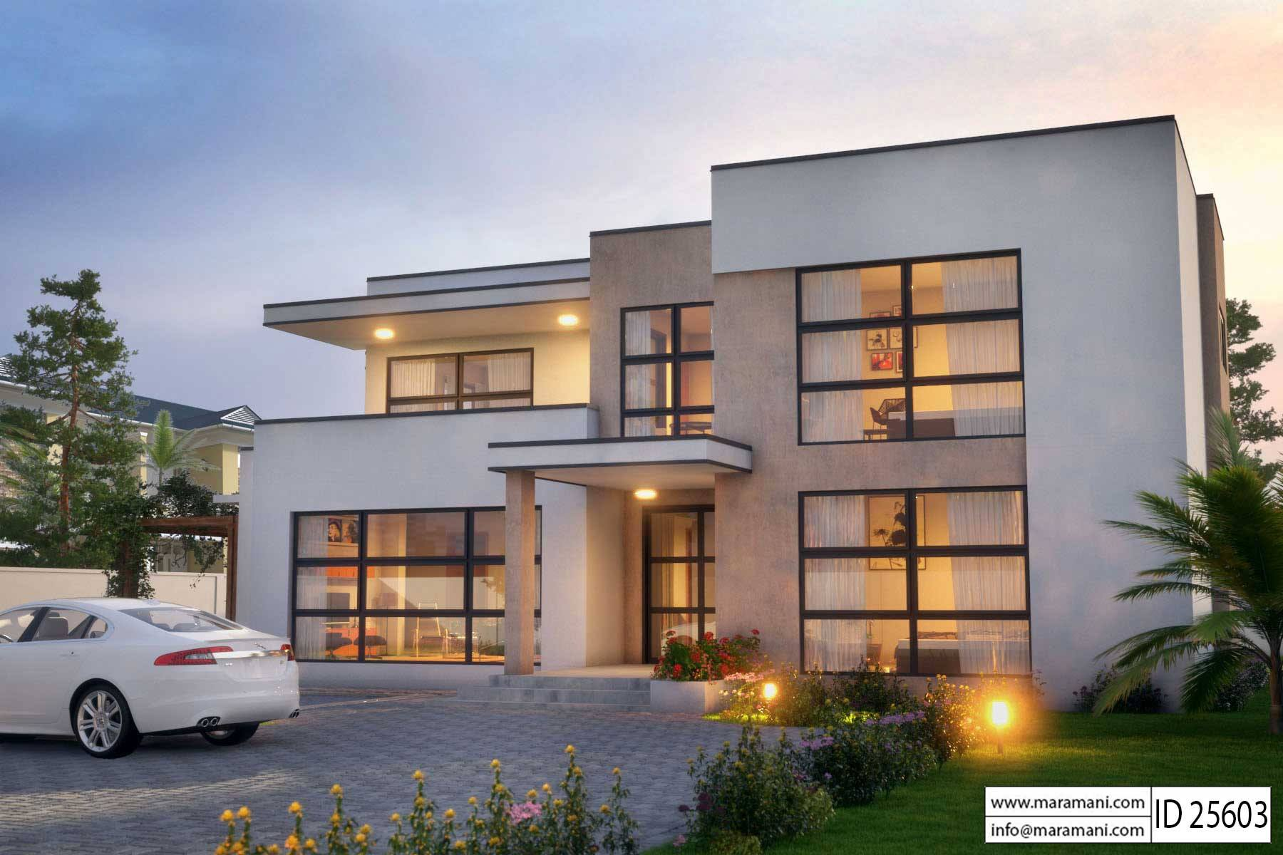 Modern 5 bedroom house design id 25603 floor plans by for Beautiful 5 bedroom house plans with pictures