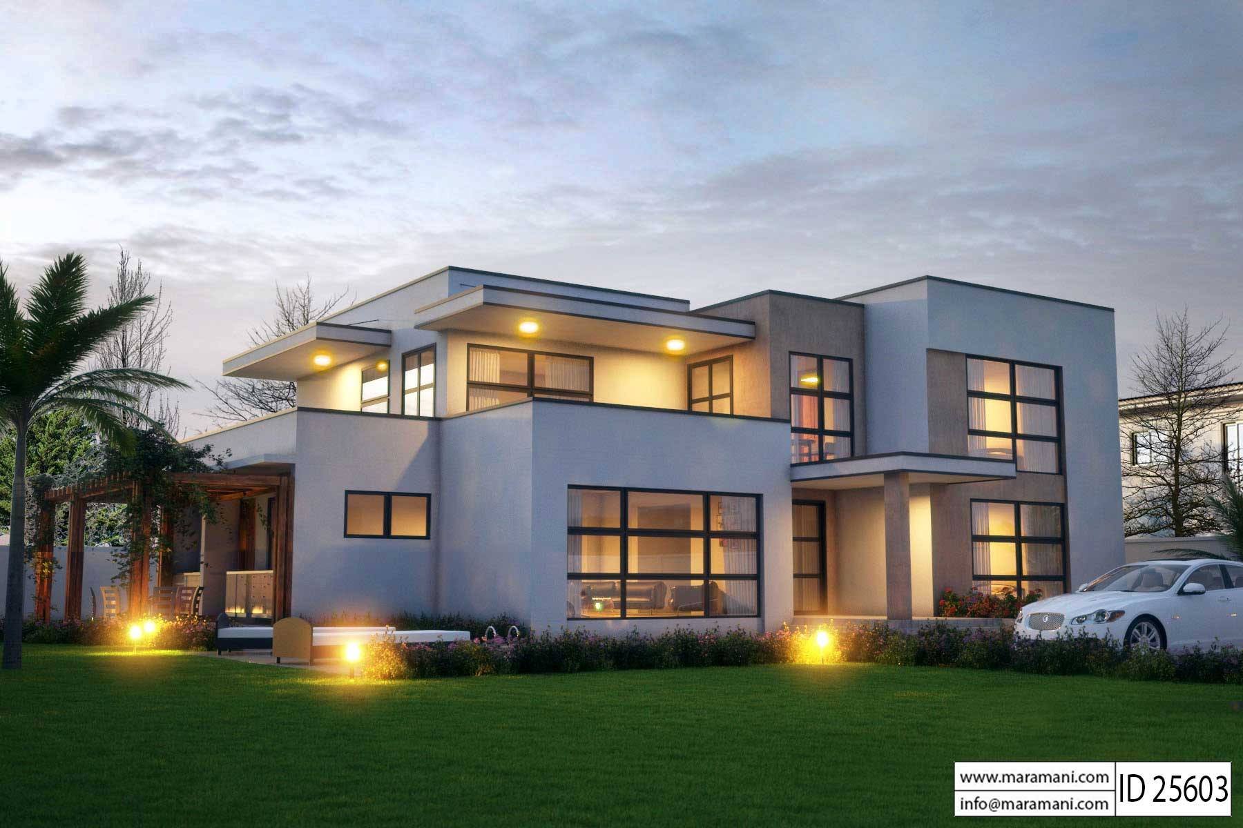 Modern 5 bedroom house design id 25603 floor plans by for Floor plans for 5 bedroom house