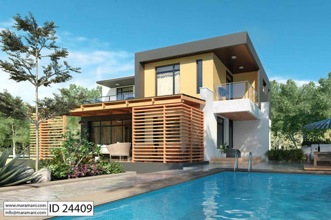 Modern 4 bedroom House Plan - ID 24409 - Designs by Maramani