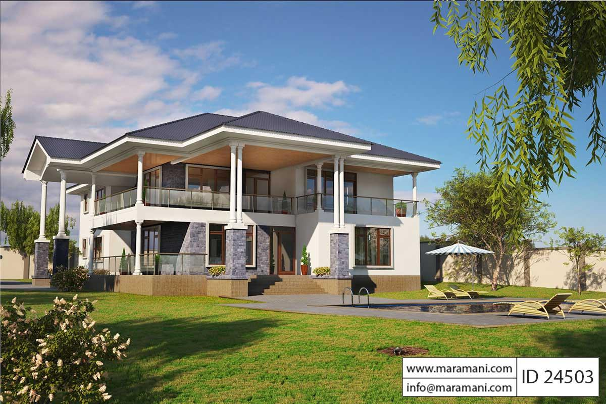 4 Bed Contemporary Villa Plan   ID 24503
