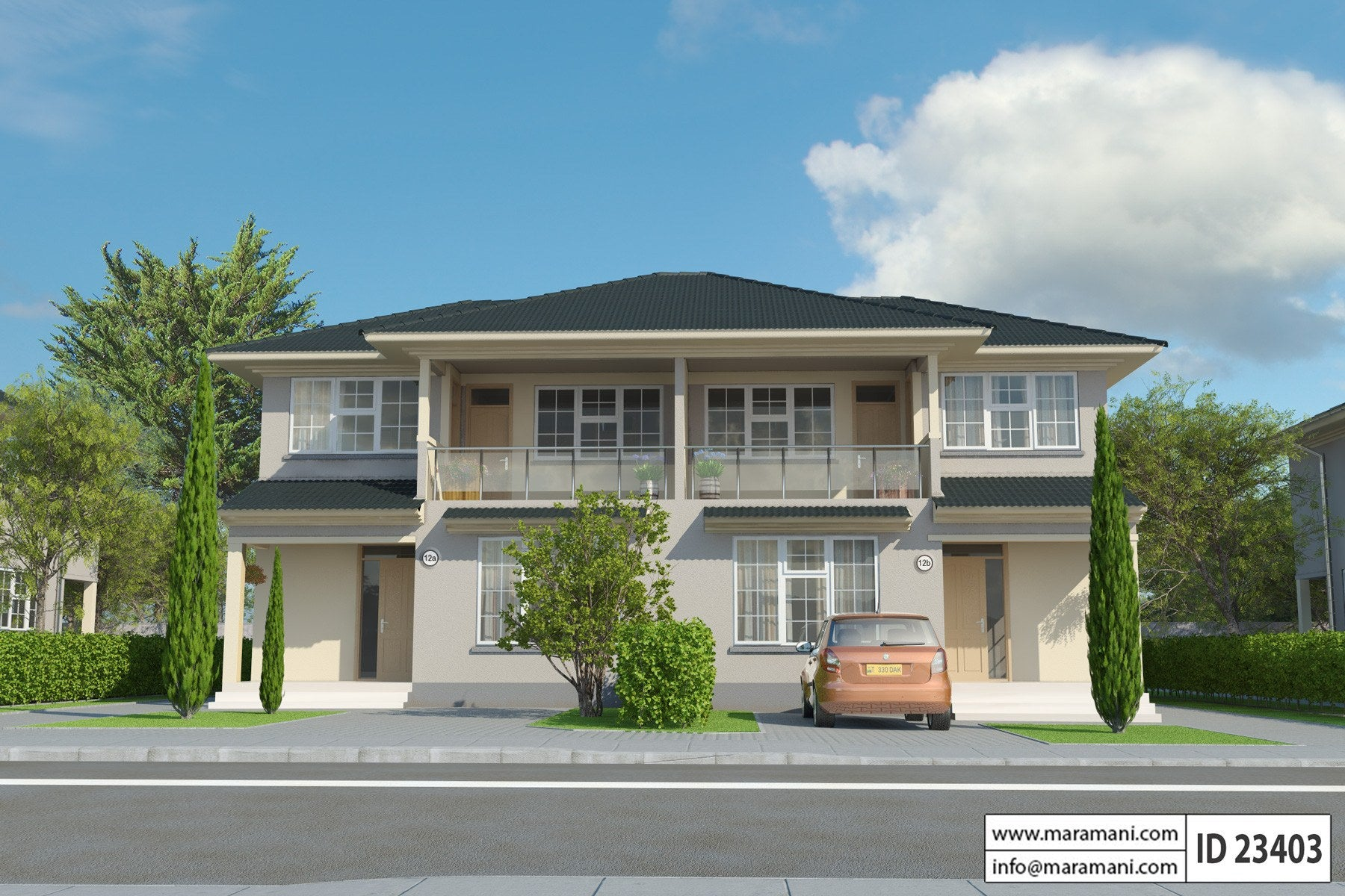 3 Bedroom Duplex House Plan - ID 23403 - House Designs by ... on kitchen house plans, lounge house plans, 4 bedrooms house plans, bathroom house plans, bachelor house plans, studio house plans, 3 bedrooms house plans,