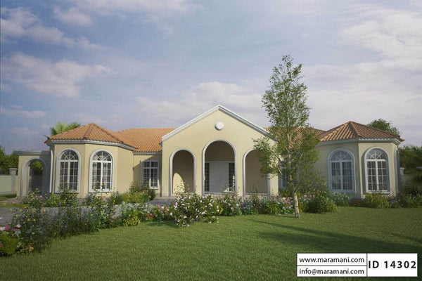 Mediterranean style house plan - ID 14302 - House Plans by Maramani