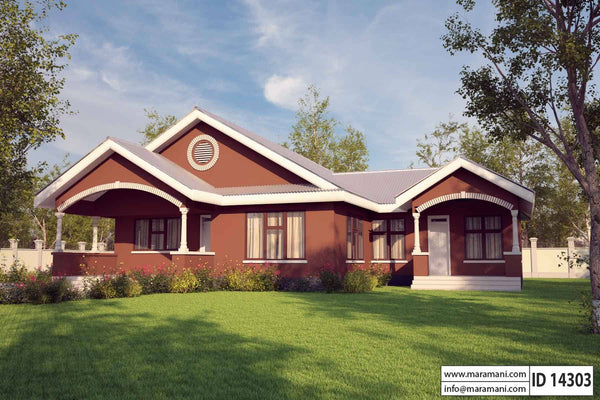 4 bedrooms single story house plan