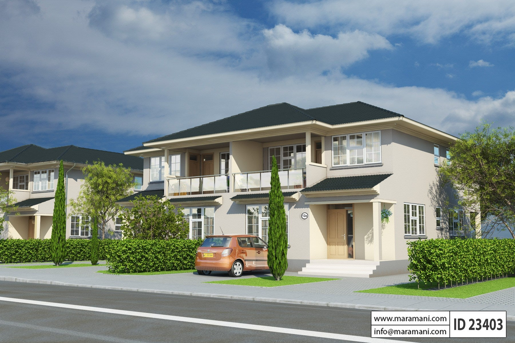 3 bedroom duplex house plan id 23403 house designs by for Id home design