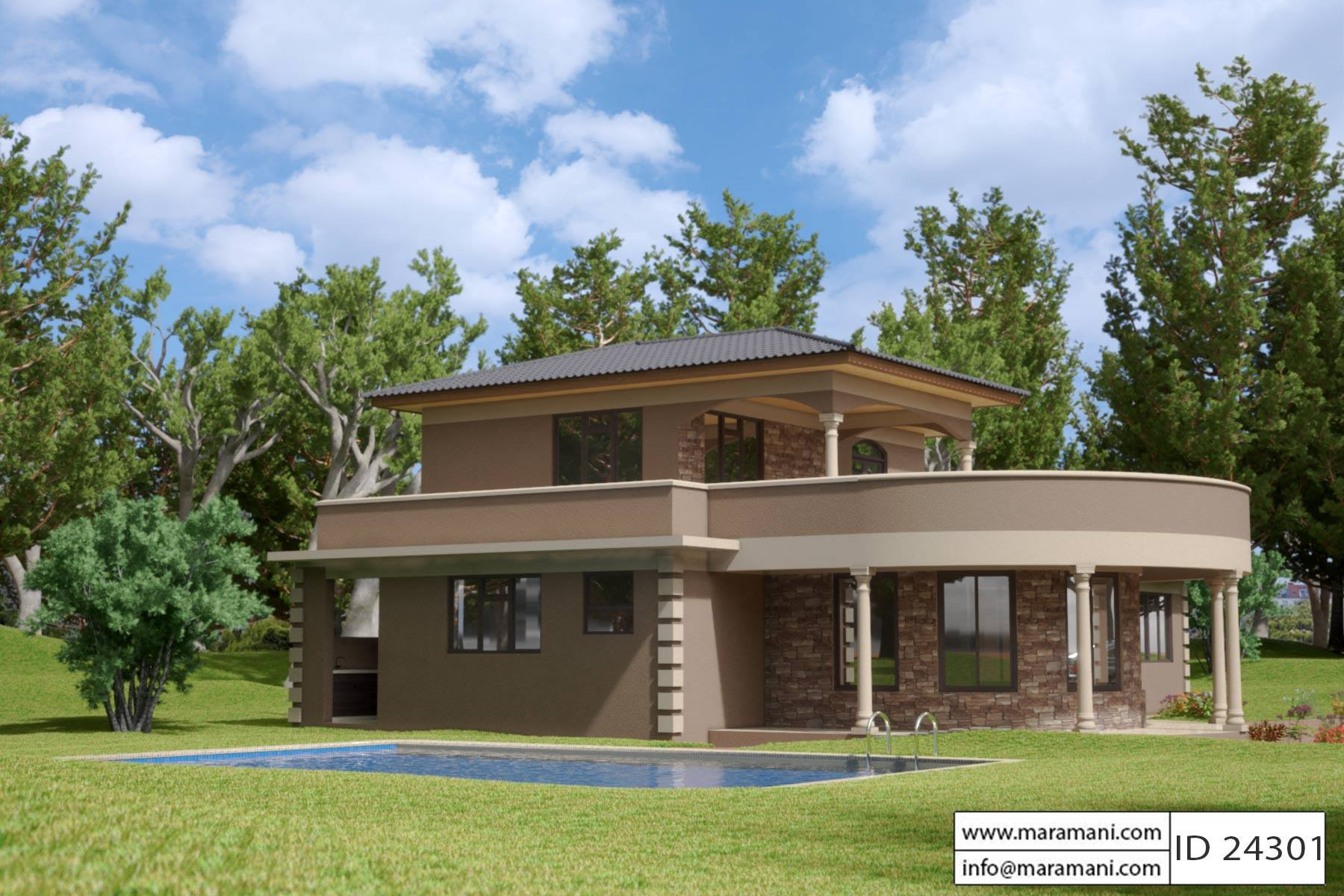 Contemporary 4 Bedroom House Plan ID