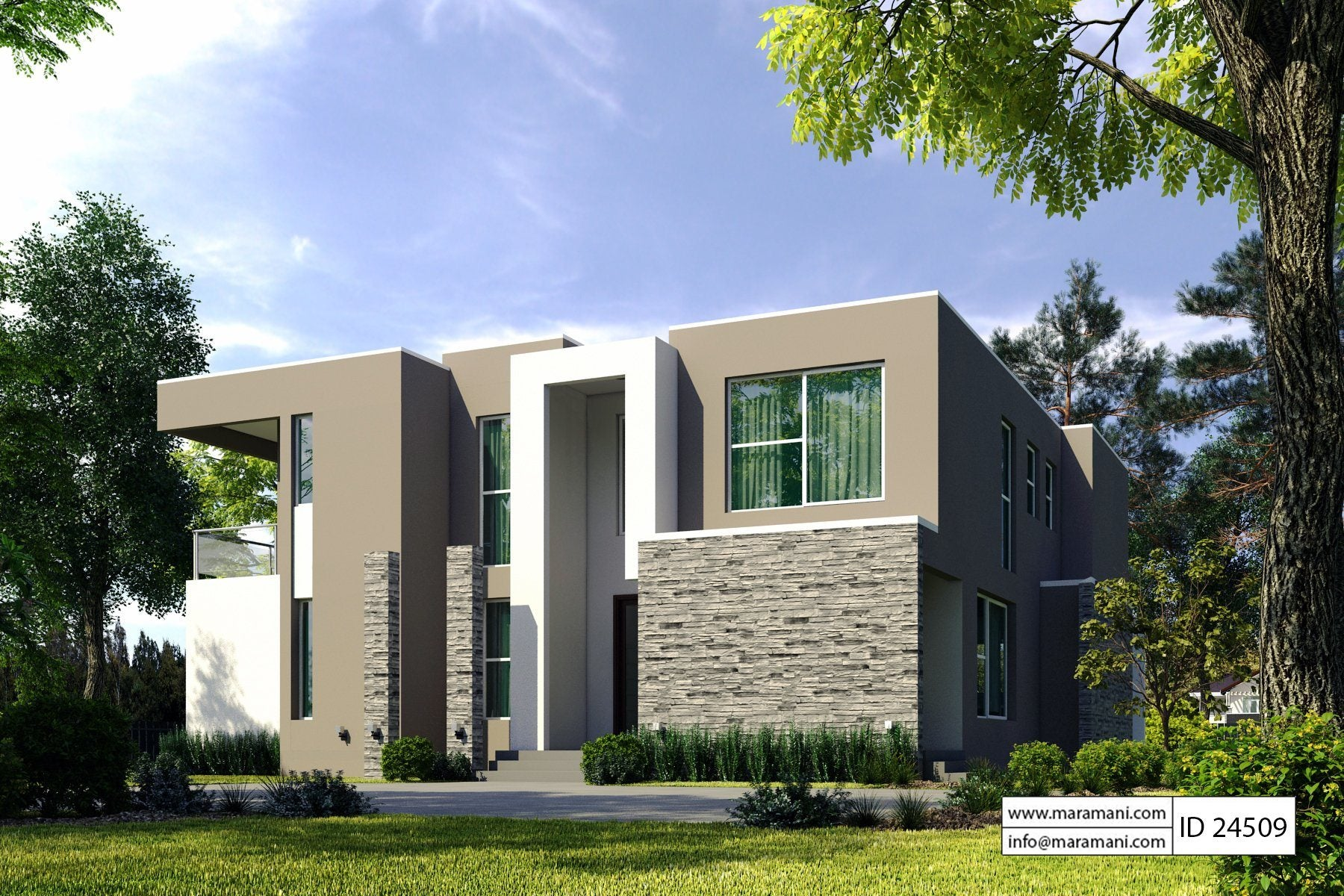 4 bedroom modern house plan id 24509 house plans by for 4 bedroom modern house plans