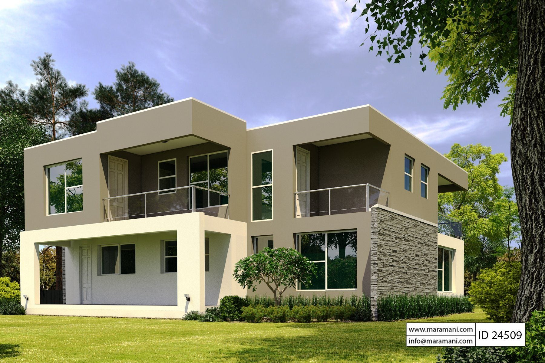 4 bedroom modern house plan id 24509 house plans by for Modern 4 bedroom house floor plans