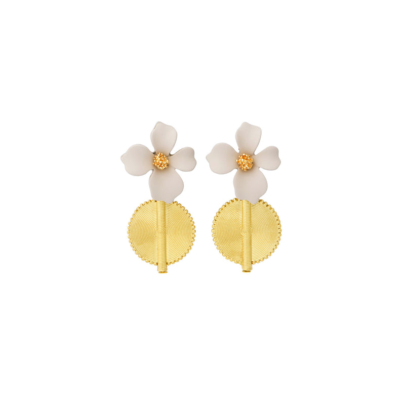 Aflé Bijoux Akan Flowers Earrings - Beige - AFLE BIJOUX