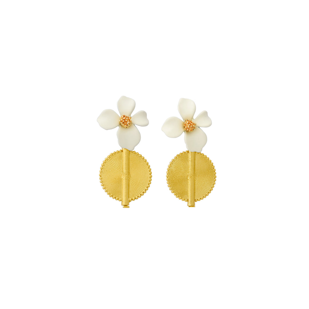 Aflé Bijoux Akan Flowers Earrings - Ivory - AFLE BIJOUX