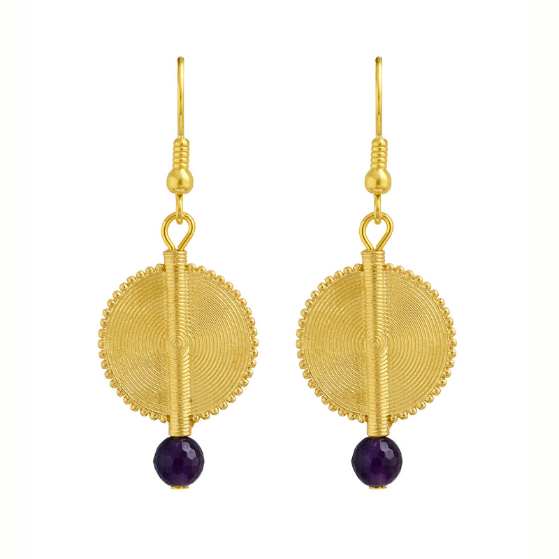 Aflé Bijoux Akan Gemstones Earrings - Amethyst - AFLE BIJOUX