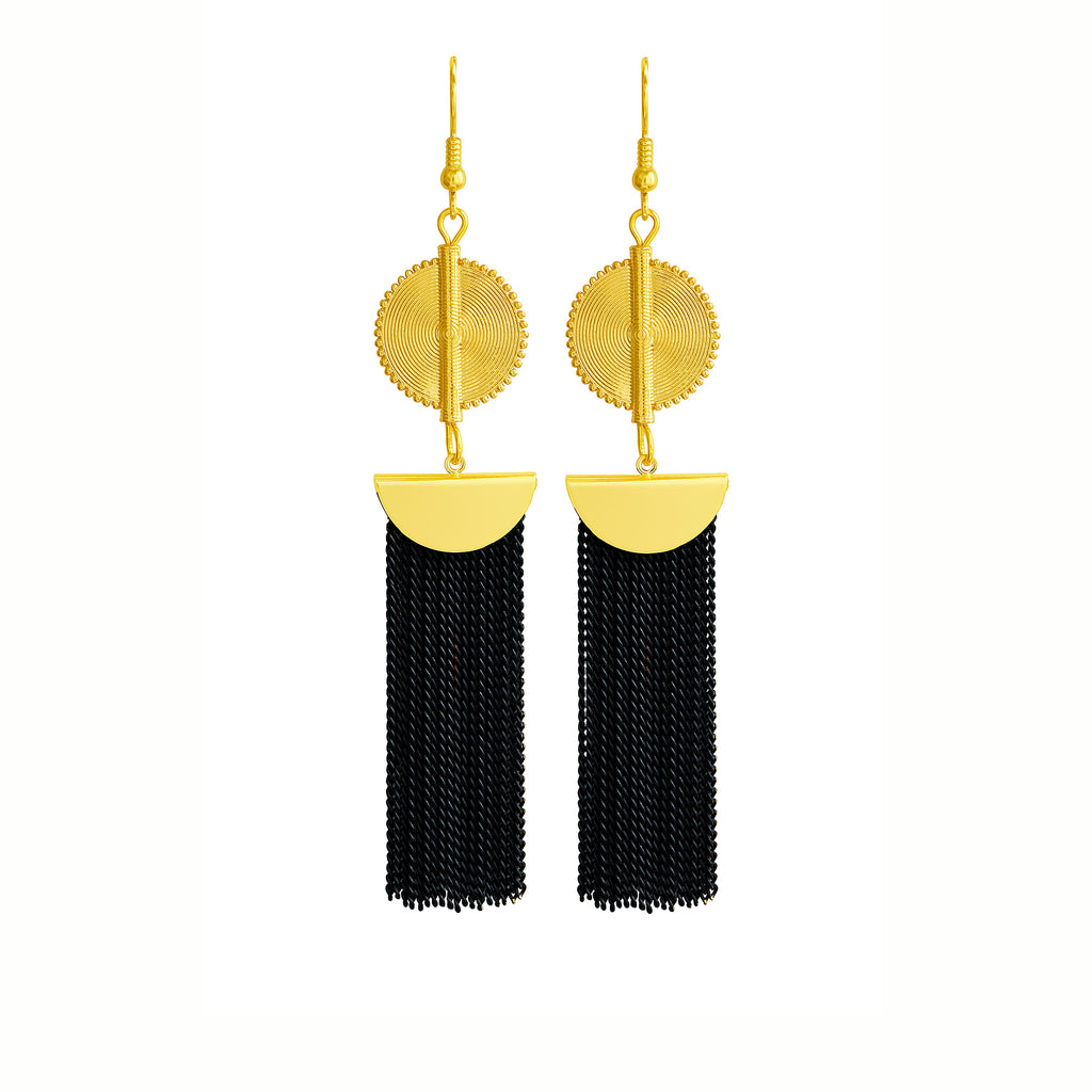 Aflé Bijoux Akan Chain Earrings - Black - AFLE BIJOUX