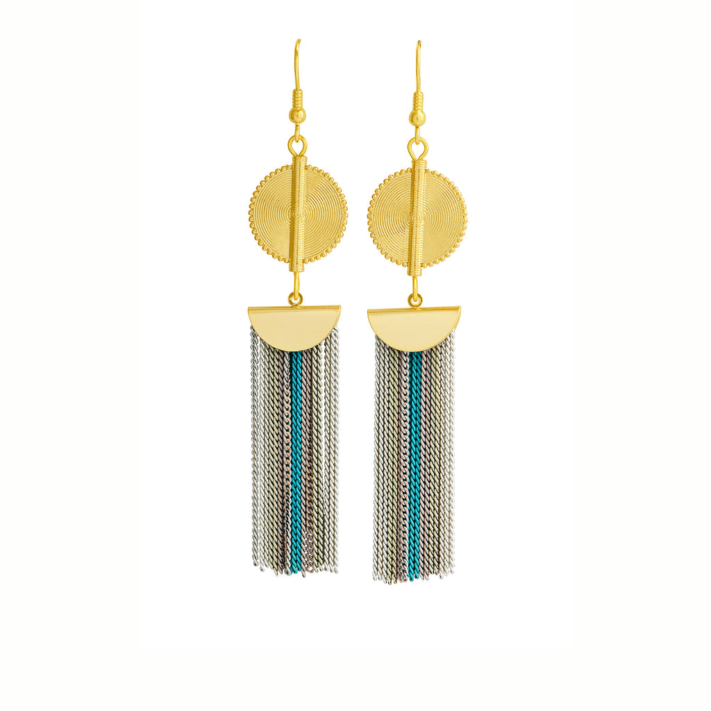 Aflé Bijoux Akan Stripy Chain Earrings - Blue - AFLE BIJOUX