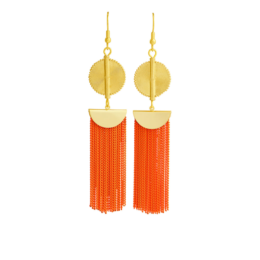 Aflé Bijoux Akan Chain Earrings - Neon Orange - AFLE BIJOUX