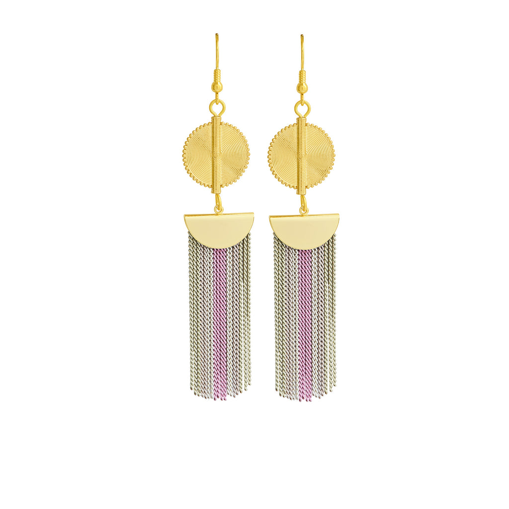 Aflé Bijoux Akan Stripy Chain Earrings - Rosa - AFLE BIJOUX