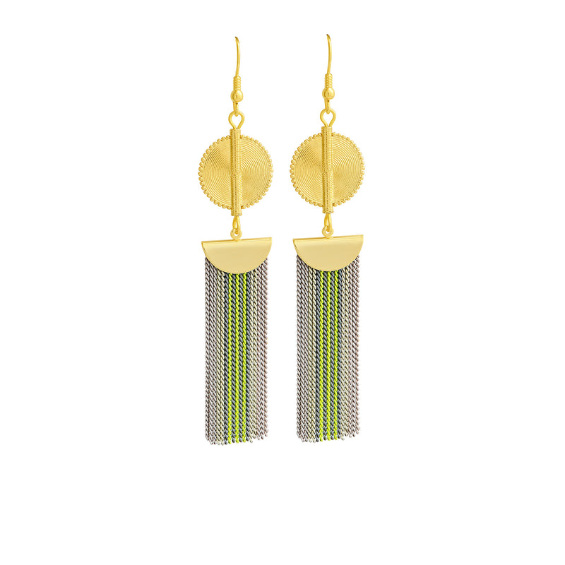 Aflé Bijoux Akan Stripy Chain Earrings - Neon Yellow - AFLE BIJOUX