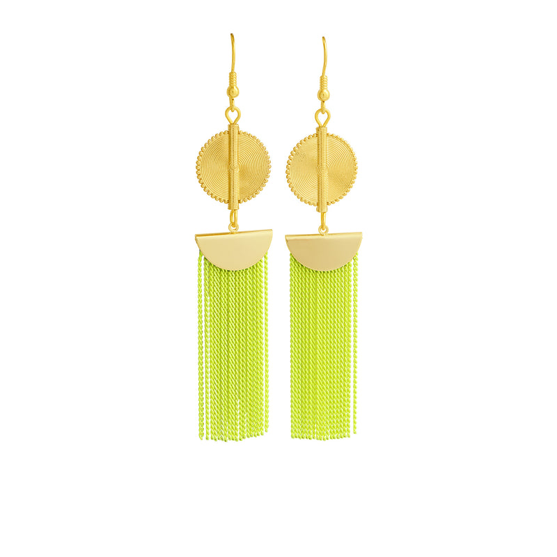 Aflé Bijoux Akan Chain Earrings - Neon Yellow - AFLE BIJOUX