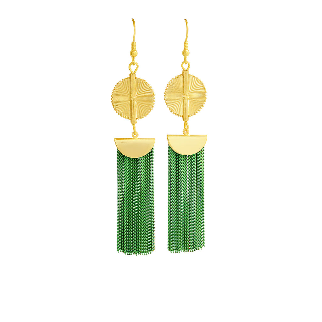 Aflé Bijoux Akan Chain Earrings - Lime - AFLE BIJOUX