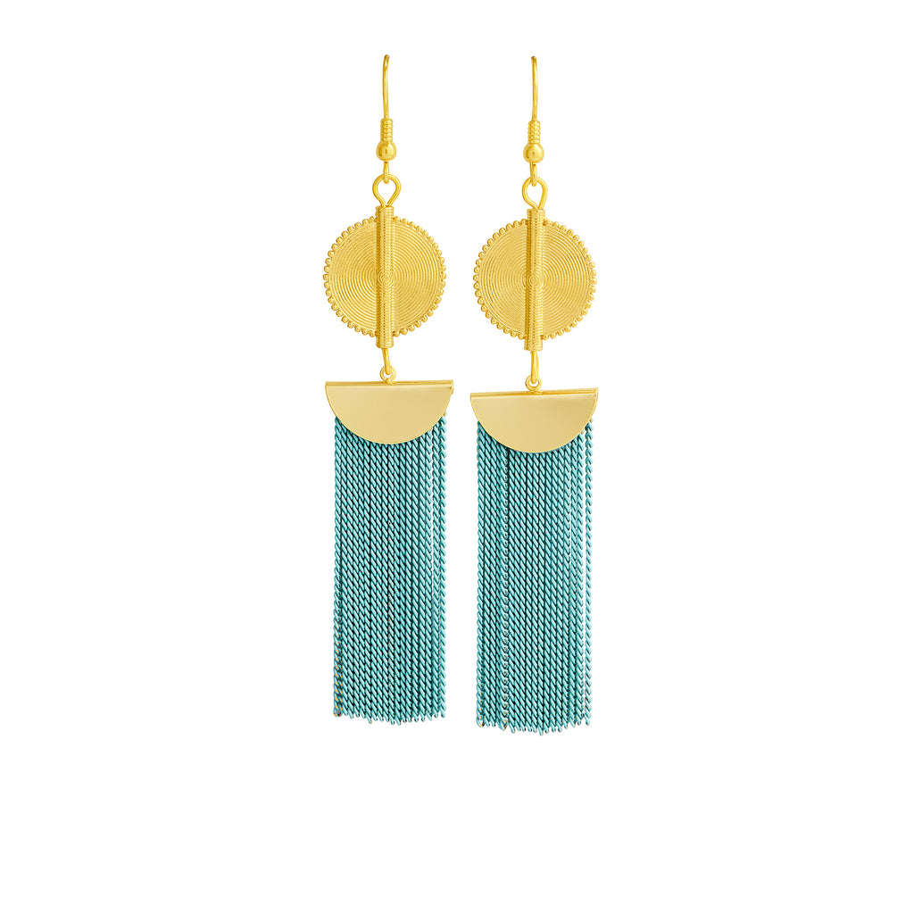 Aflé Bijoux Akan Chain Earrings - Baby blue - AFLE BIJOUX