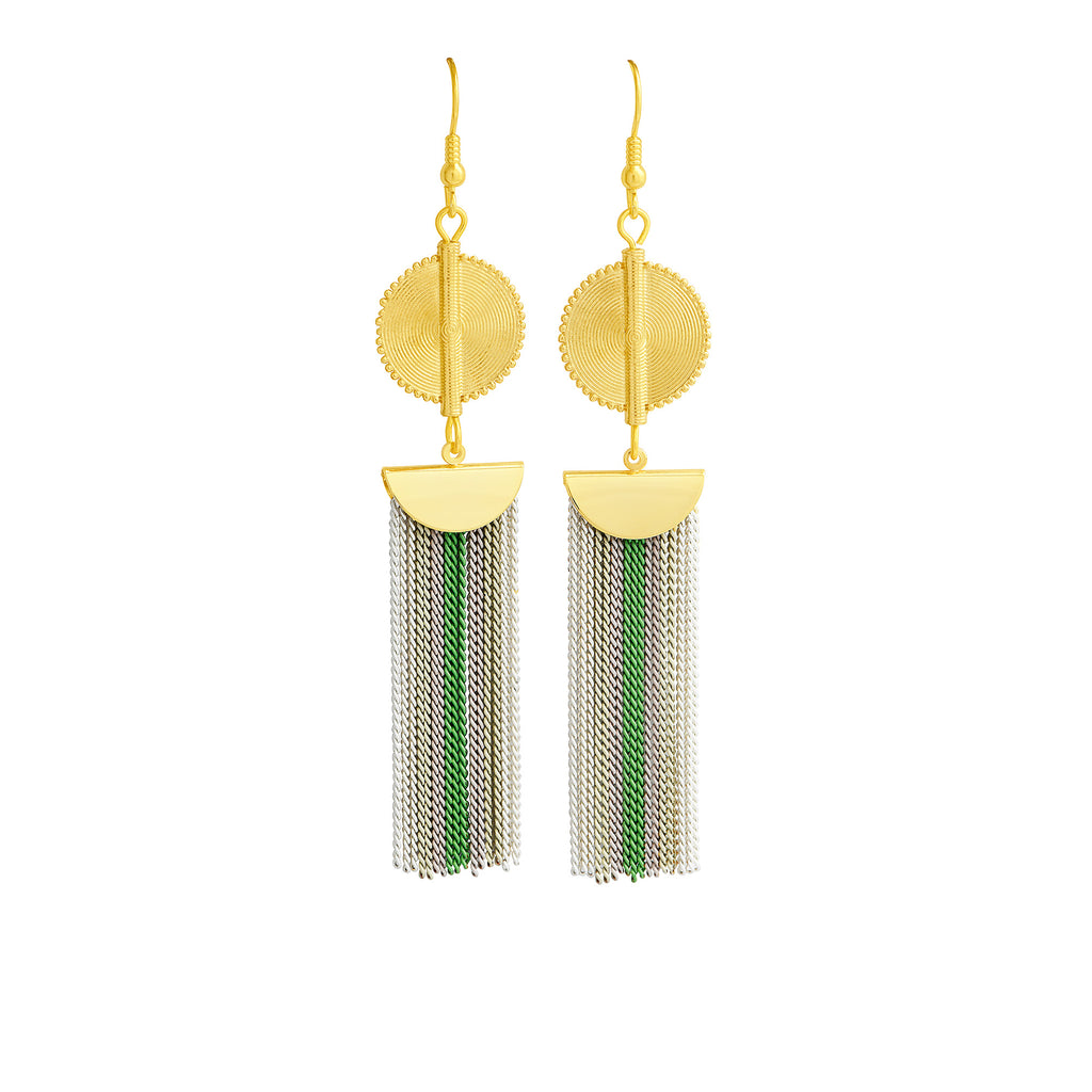 Aflé Bijoux Akan Stripy Chain Earrings - Lime - AFLE BIJOUX