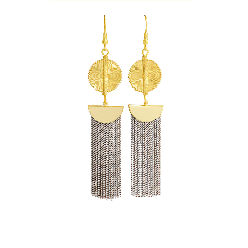 Aflé Bijoux Akan Chain Earrings - Beige - AFLE BIJOUX