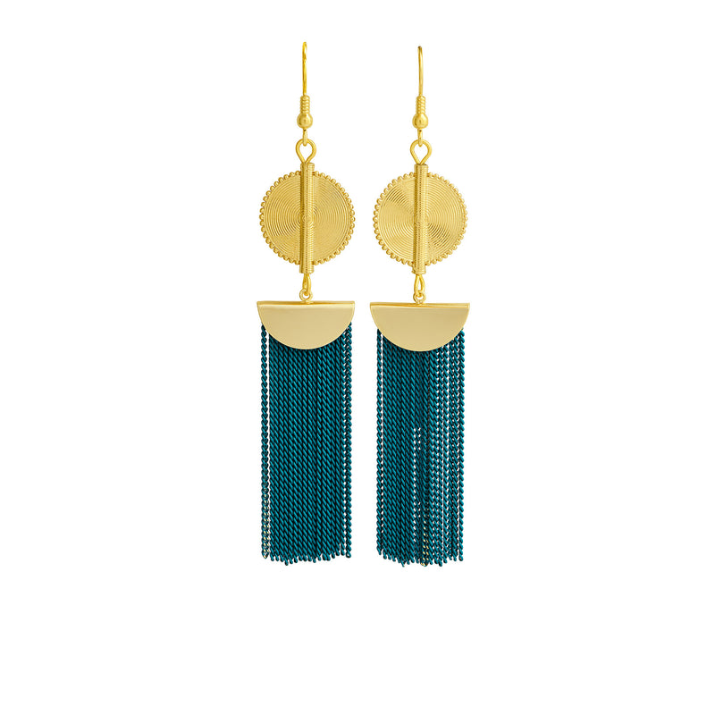 Aflé Bijoux Akan Chain Earrings - Teal - AFLE BIJOUX