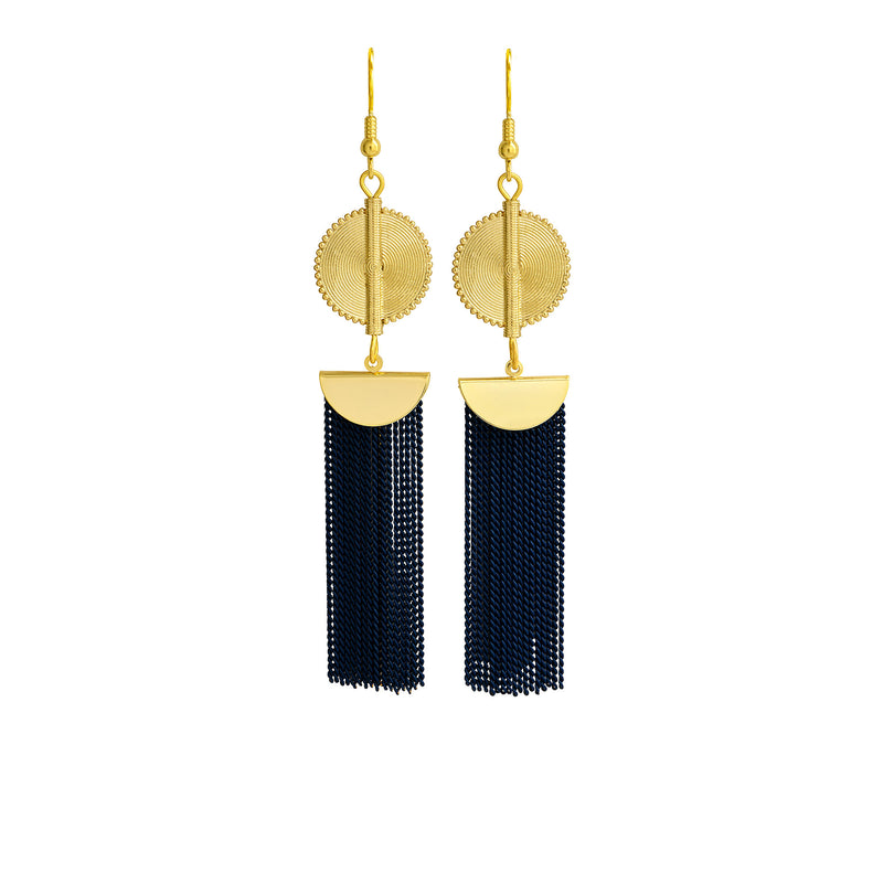 Aflé Bijoux Akan Chain Earrings - Dark blue - AFLE BIJOUX