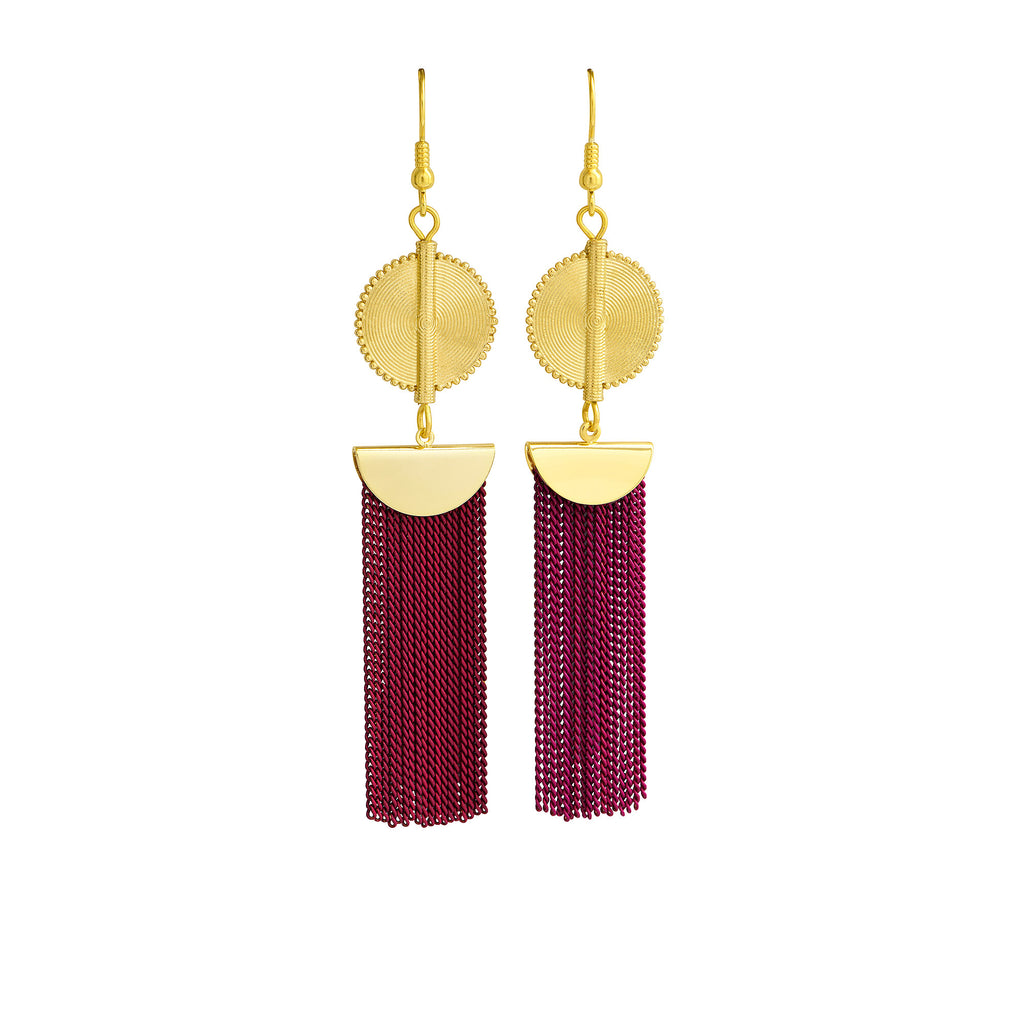 Aflé Bijoux Akan Chain Earrings - Magenta - AFLE BIJOUX