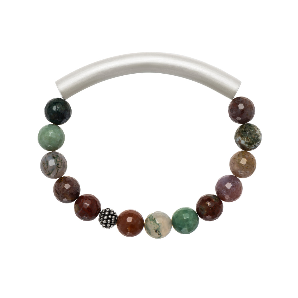 Green Moos Agate Men's Bracelet