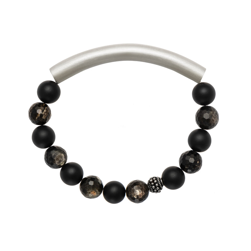 Black Onyx and Black Rutilated Quartz Men's Bracelet