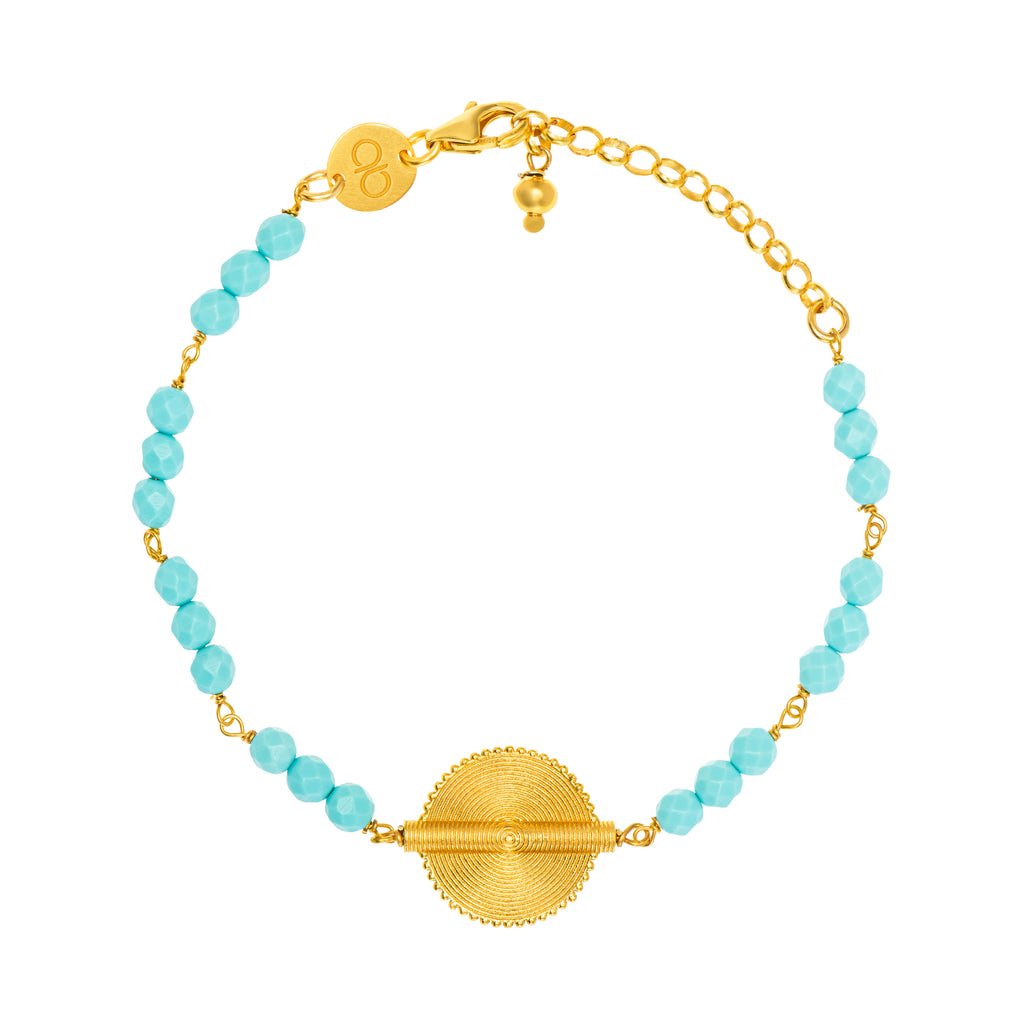 Turquoise Akan Goldweight Chain Bracelet - AFLE BIJOUX