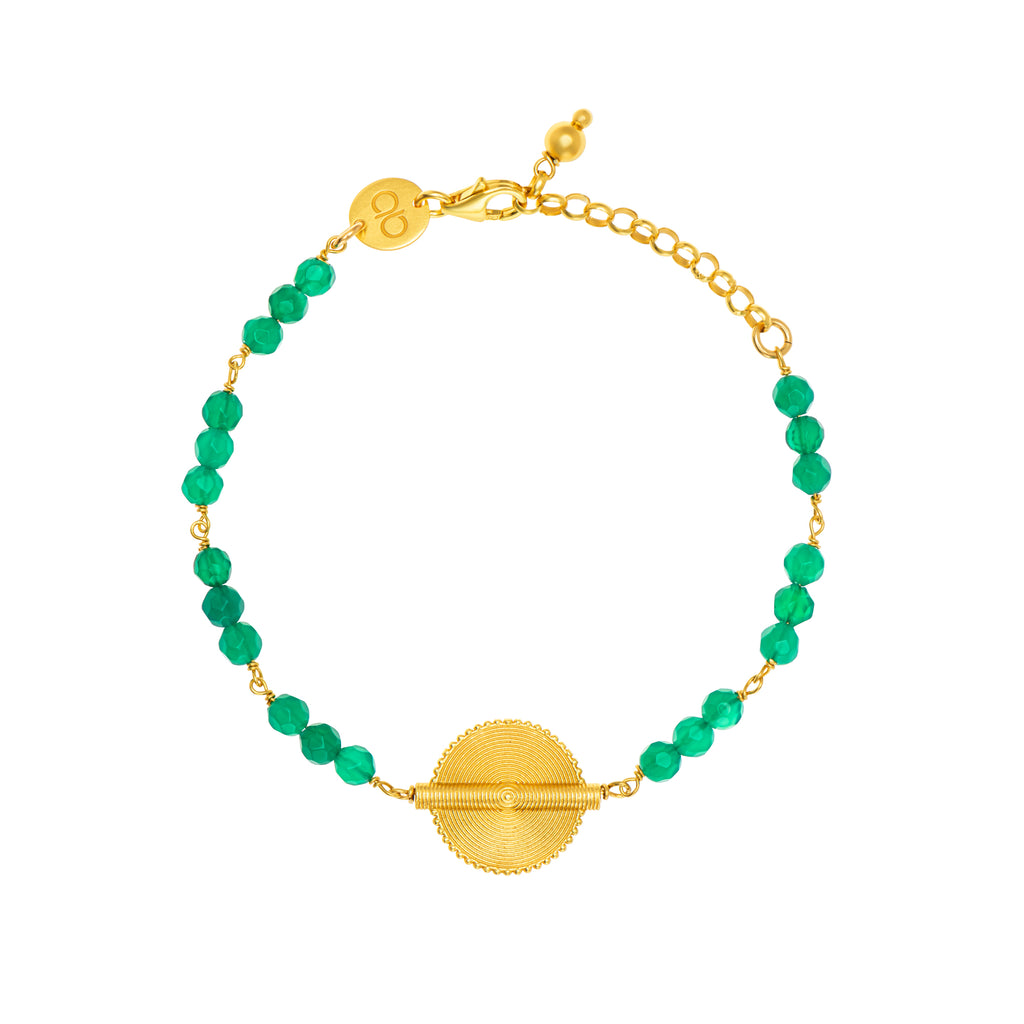 Green Agate Akan Goldweight Chain Bracelet - AFLE BIJOUX
