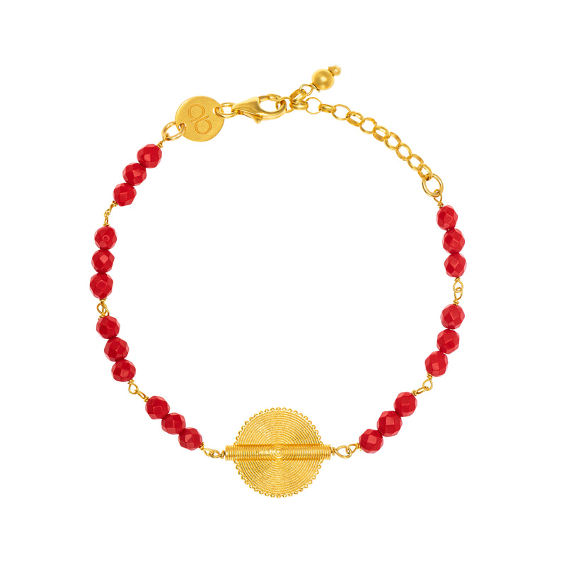 Red Coral Akan Goldweight Chain Bracelet - AFLE BIJOUX