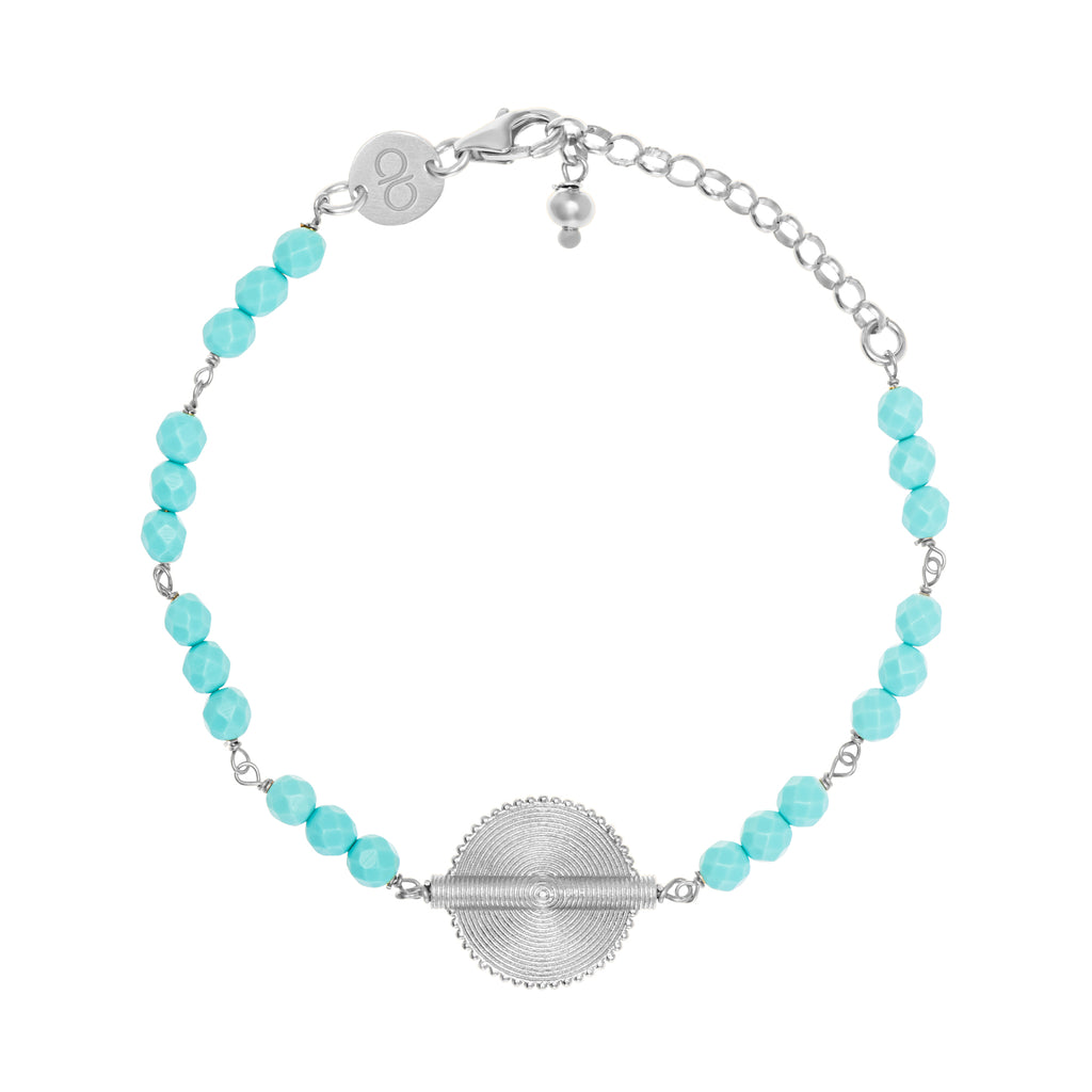 Turquoise White Gold Akan Goldweight Chain Bracelet - AFLE BIJOUX