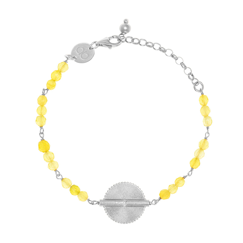 Citrine White Gold Akan Goldweight Chain Bracelet - AFLE BIJOUX