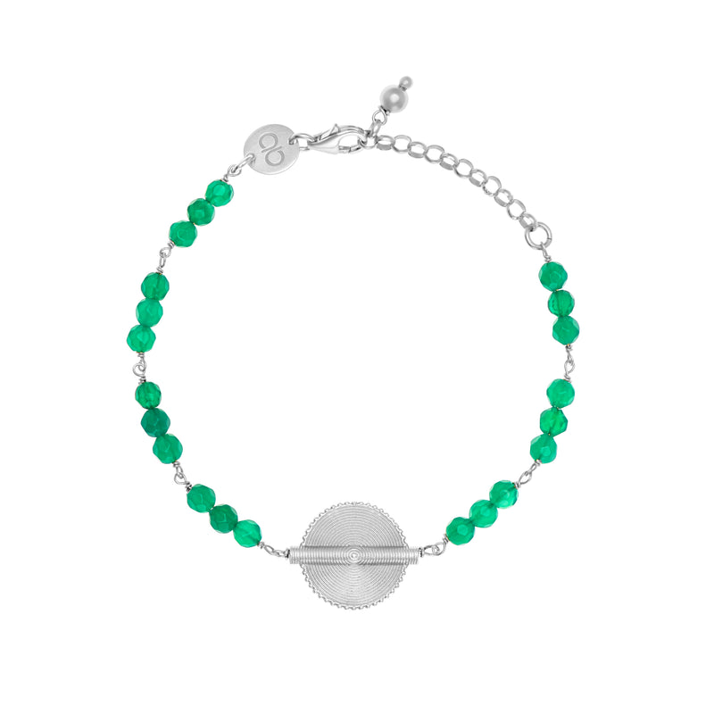Green Agate White Gold Akan Goldweight Chain Bracelet - AFLE BIJOUX