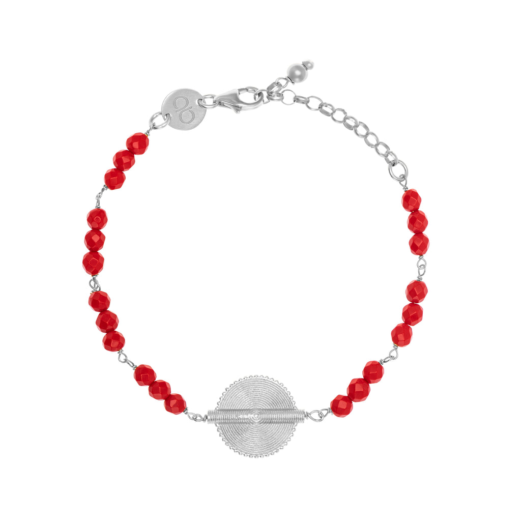 Red Coral White Gold Akan Goldweight Chain Bracelet - AFLE BIJOUX