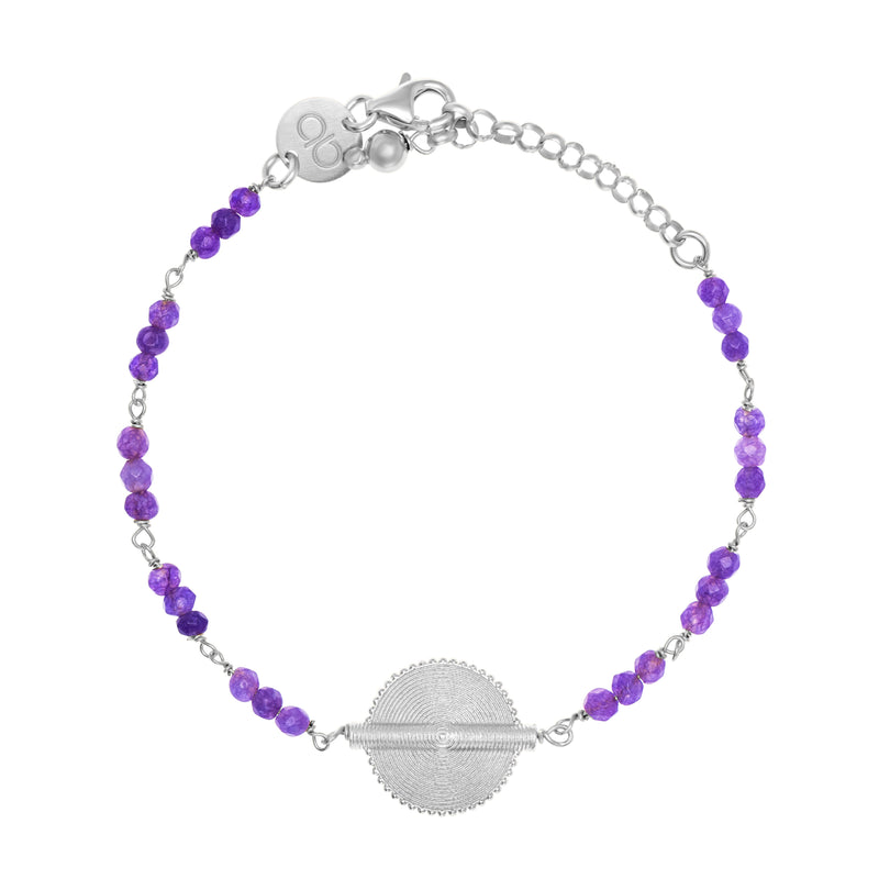 Amethyst White Gold Akan Goldweight Chain Bracelet