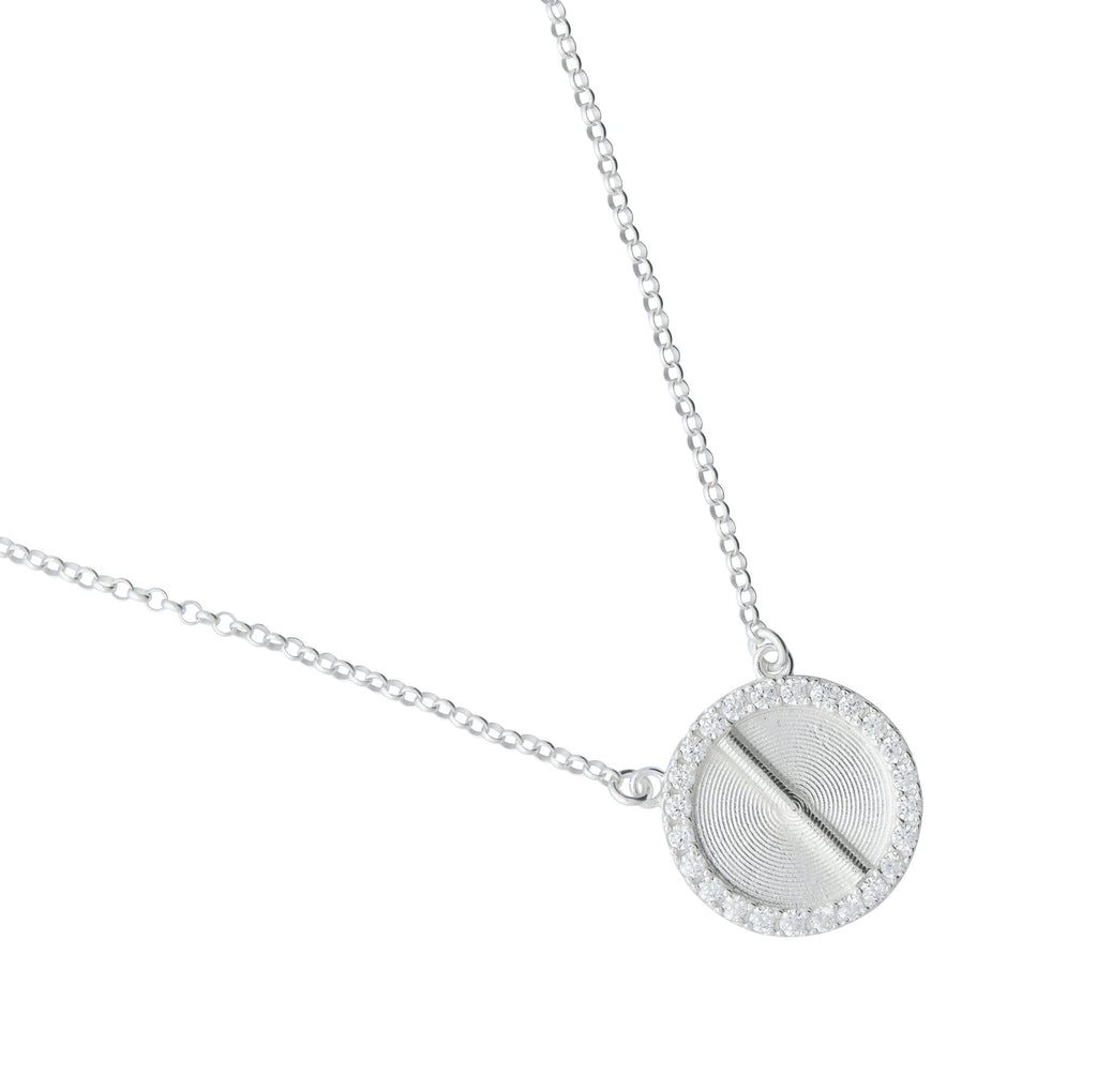 Sparkle White Gold Akan Pendant Necklace Large - AFLE BIJOUX