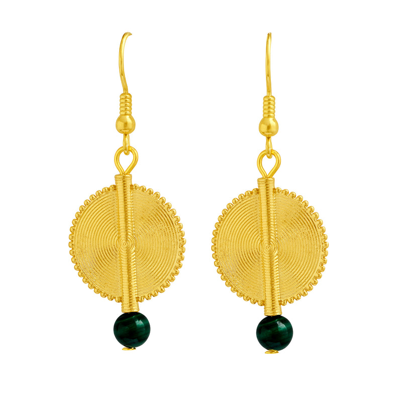 Aflé Bijoux Akan Gemstones Earrings - Malachite - AFLE BIJOUX