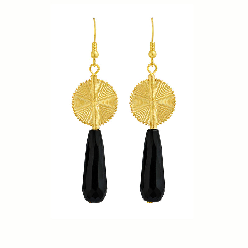 Aflé Bijoux Akan Gemstones Drops Earrings - Onyx - AFLE BIJOUX