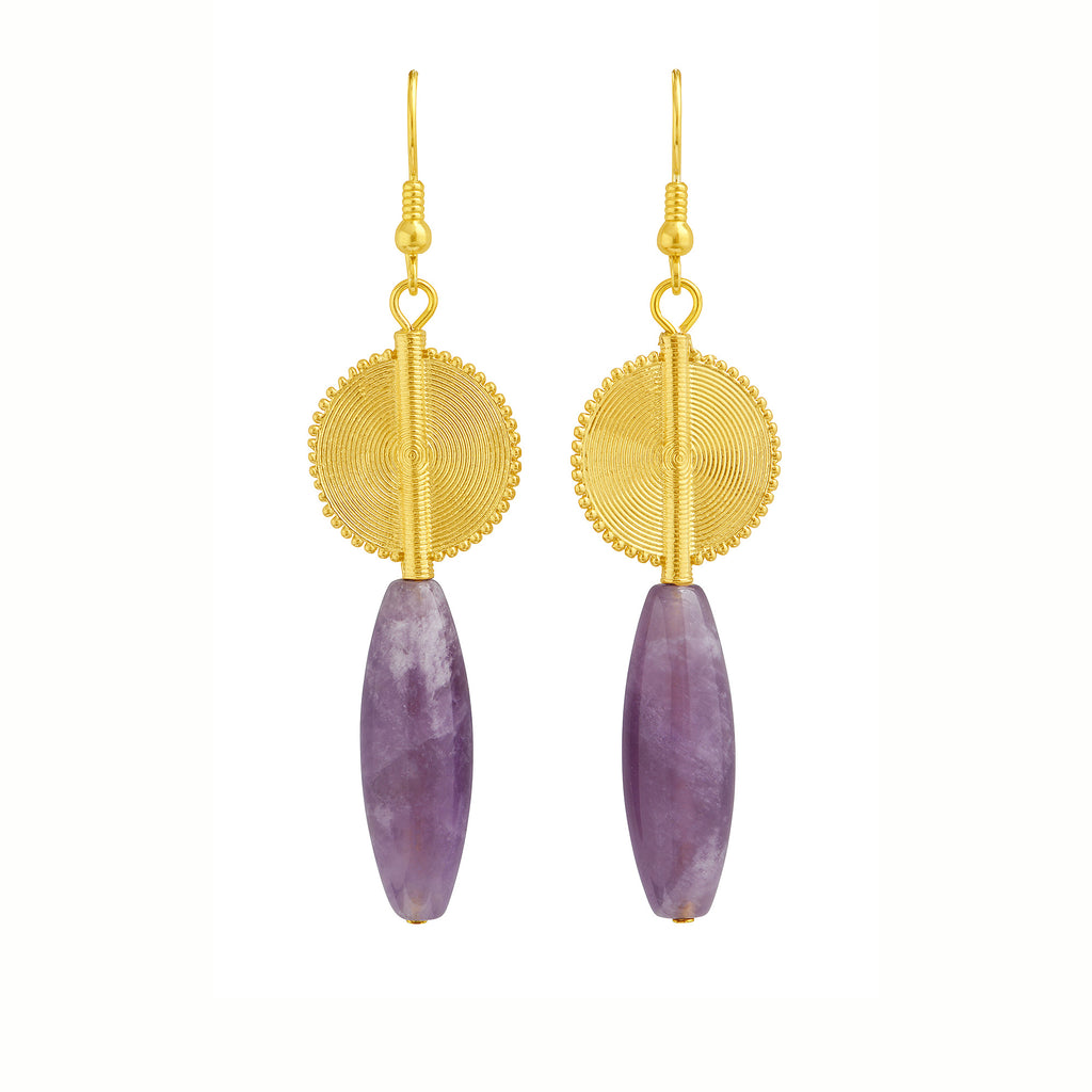 Aflé Bijoux Akan Gemstones Drops Earrings - Amethyst - AFLE BIJOUX