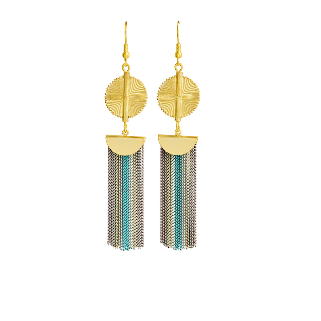 Aflé Bijoux Akan Stripy Chain Earrings - Baby blue - AFLE BIJOUX