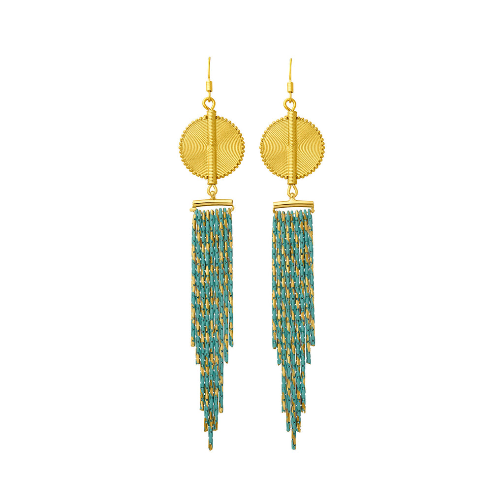 Aflé Bijoux Akan Cascading Chain Earrings - Gold Turquoise - AFLE BIJOUX