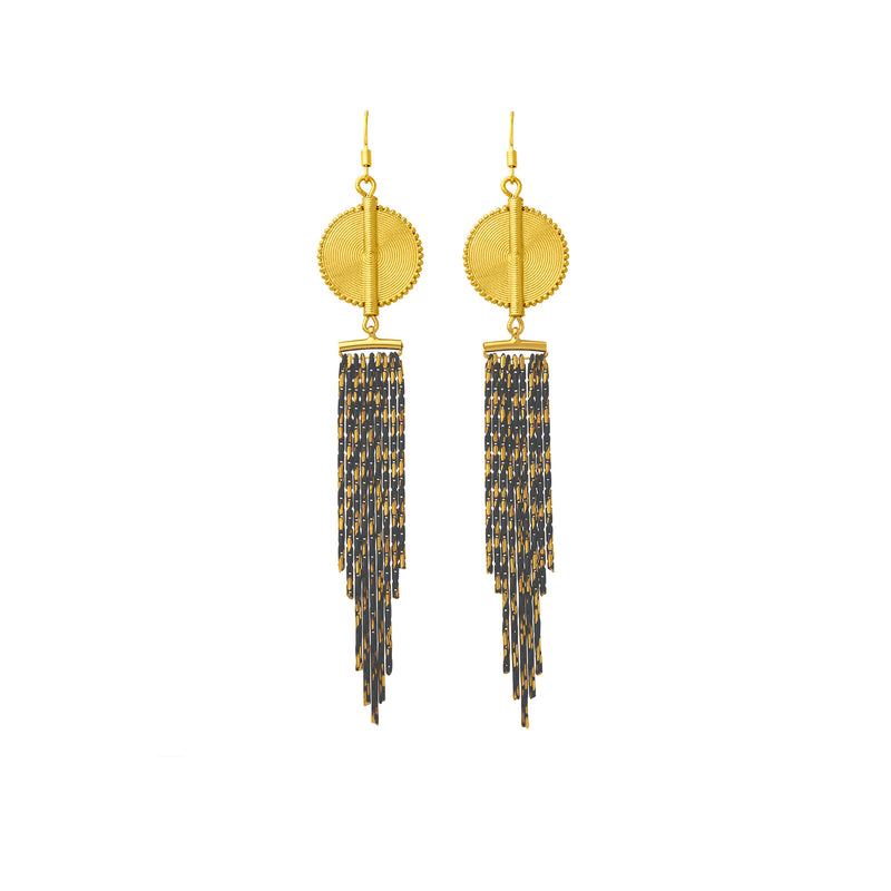 Aflé Bijoux Akan Cascading Chain Earrings - Gold Grey - AFLE BIJOUX