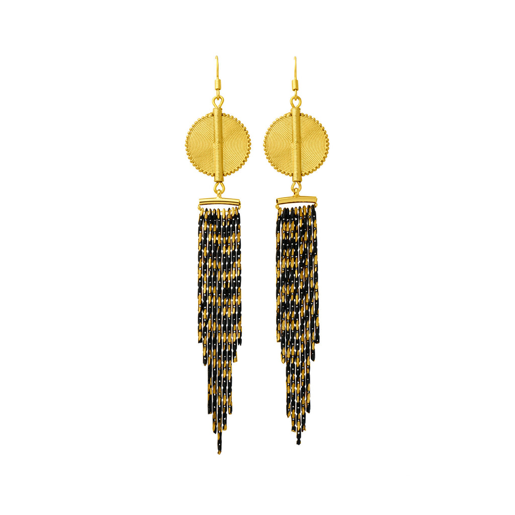 Aflé Bijoux Akan Cascading Chain Earrings - Gold Black - AFLE BIJOUX