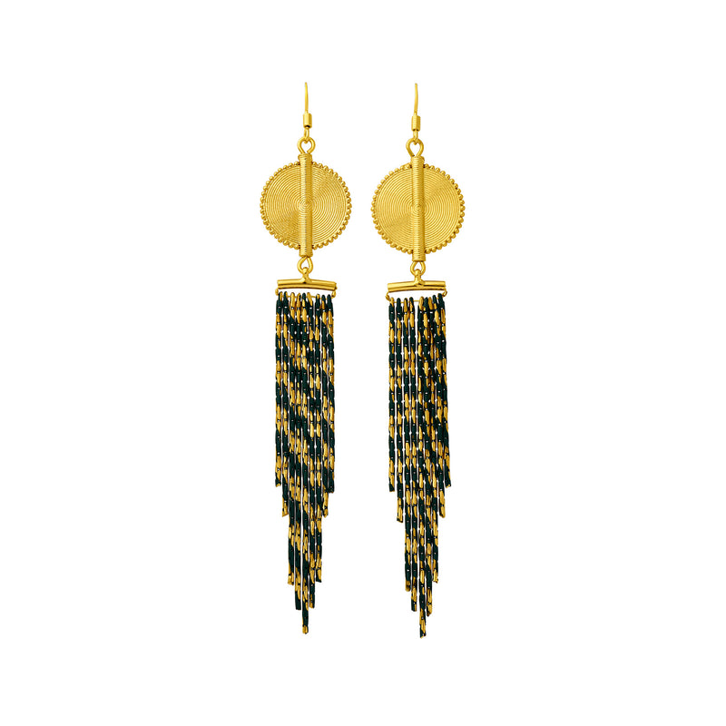Aflé Bijoux Akan Cascading Chain Earrings - Gold Green - AFLE BIJOUX