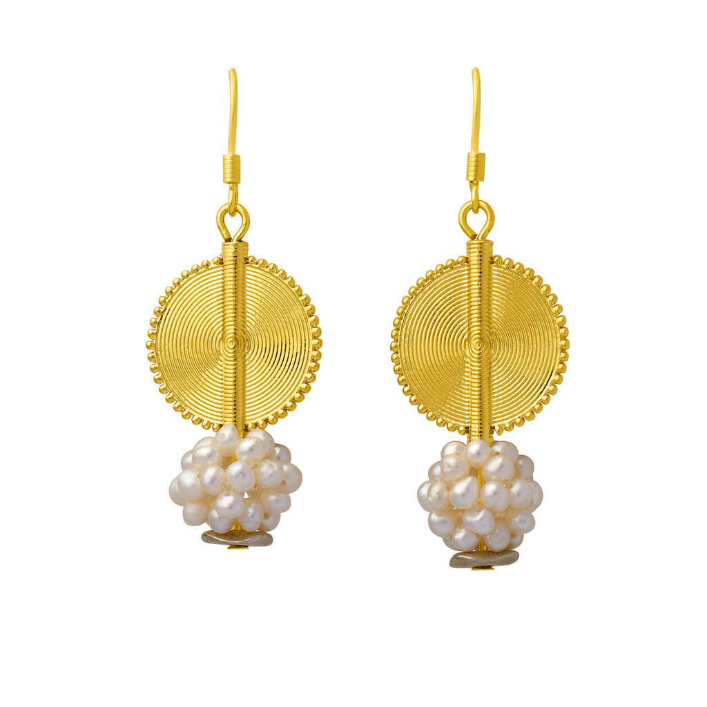 Aflé Bijoux Akan Gemstones Earrings - Sweet Water Pearls - AFLE BIJOUX