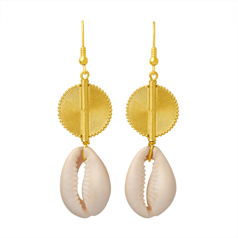 Aflé Bijoux Akan Cowrie Shells Earrings - Large - AFLE BIJOUX