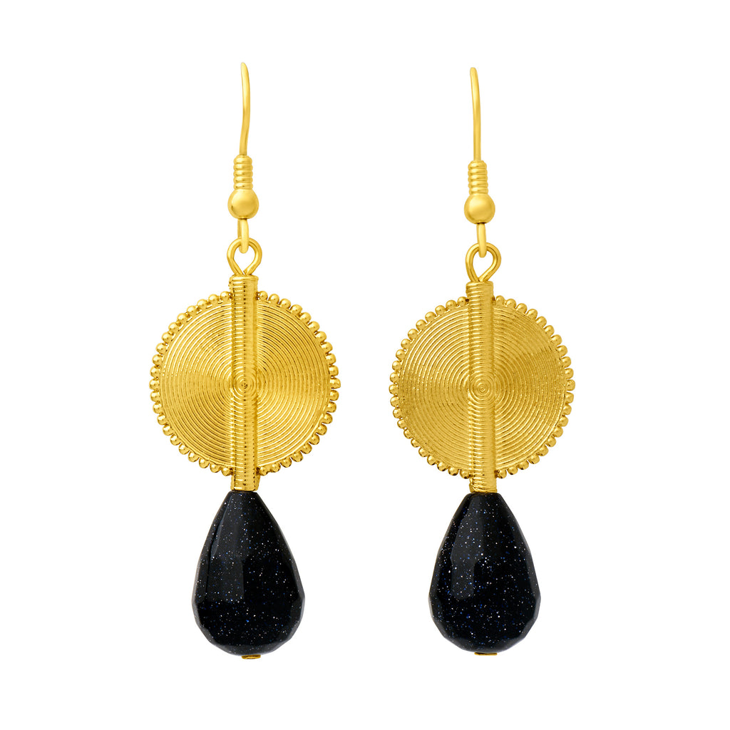 Aflé Bijoux Akan Gemstones Drops Earrings - Midnight Blue Agates - AFLE BIJOUX